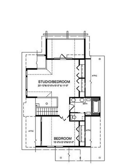 Plano de casa de madera de 2 pisos y 3 dormitorios
