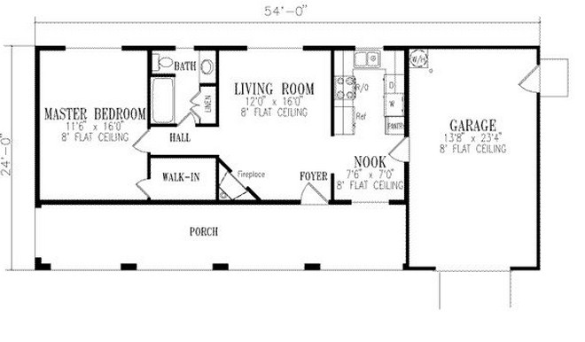 Plano de casa de una planta y 120m