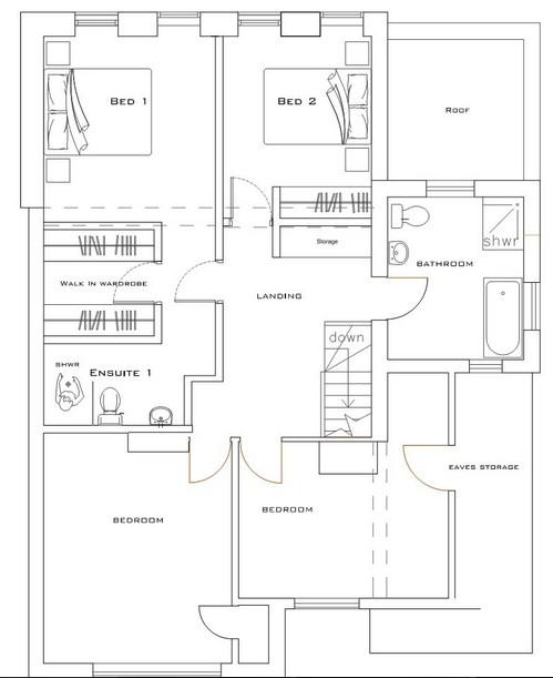 Plano de casa moderna con espacios abiertos de 2 plantas