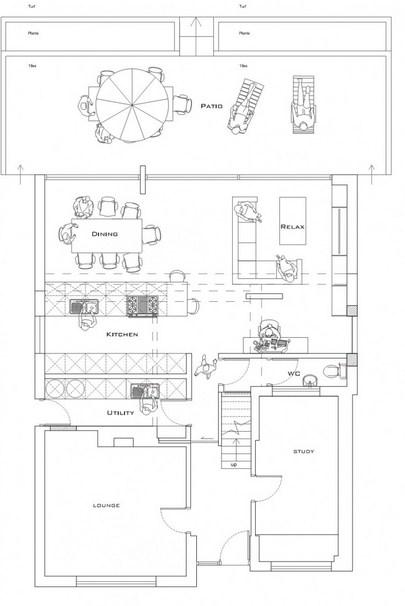 Plano de casa moderna con espacios abiertos y 4 dormitorios