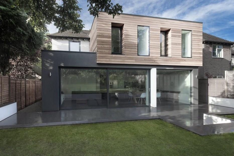 plano de casa moderna con espacios abiertos
