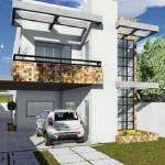 Plano de casa moderna con fachada