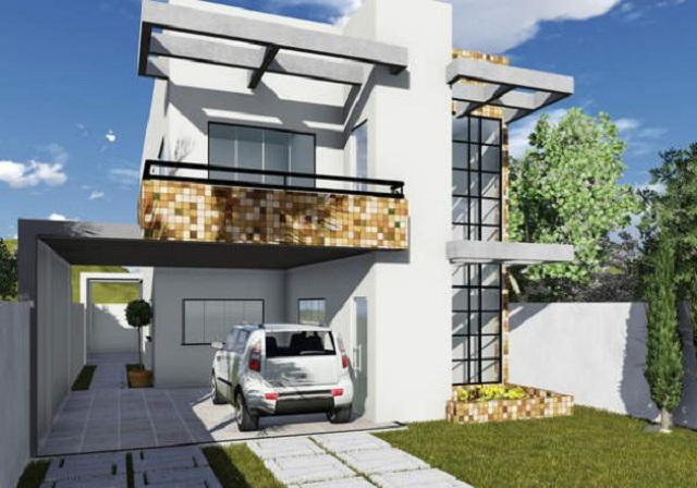 Plano de casa moderna con fachada for Banos casas modernas