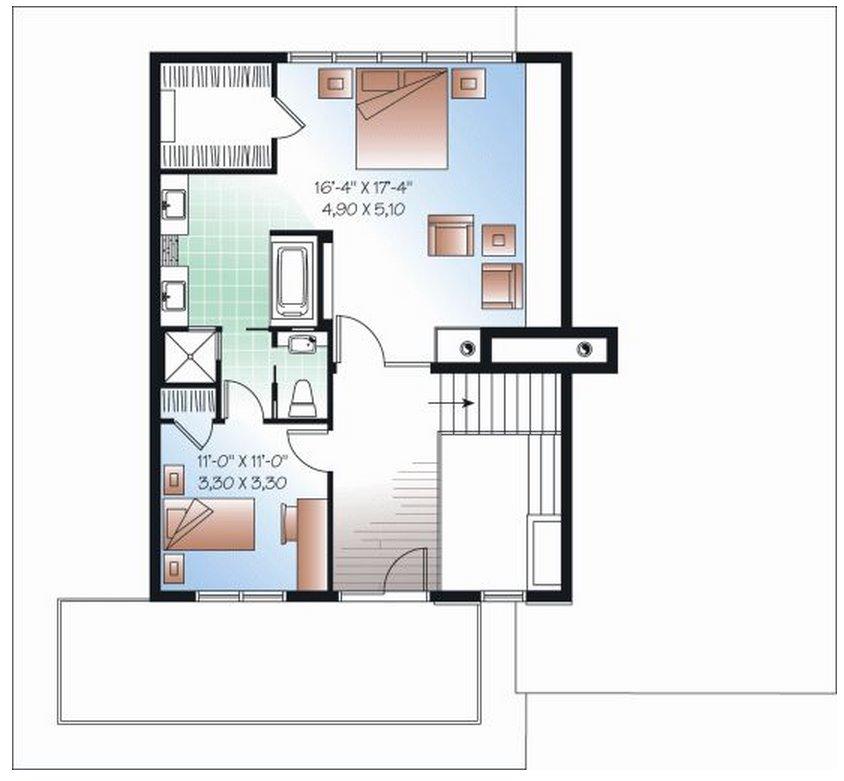 plano de casa moderna con oficina en la planta baja
