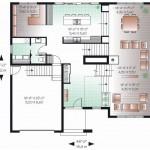 Plano de casa moderna con oficina integrada