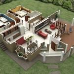Plano de casa moderna de 155 m2