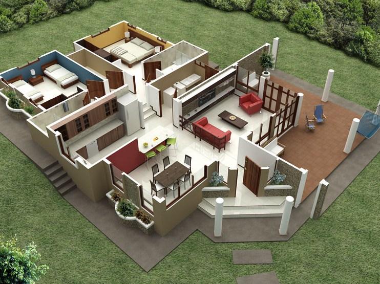 Galeria planos de casas modernas for Planos casa minimalista 3d