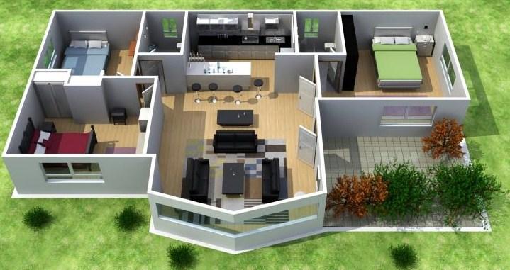 Plano de casa moderna de 3 dormitorios en 3d for Planos de casas 200m2