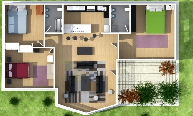 Plano de casa moderna de 3 habitaciones en 3D