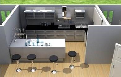 Plano de casa moderna de 3 dormitorios en 3d for Planos de cocinas 4x4