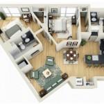 Plano de departamento de dos dormitorios y dos baños