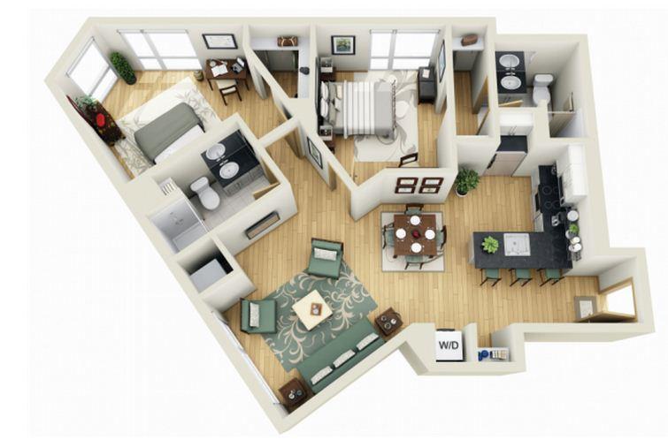 Los Baños General Plan:Plano de departamento de dos dormitorios y dos baños