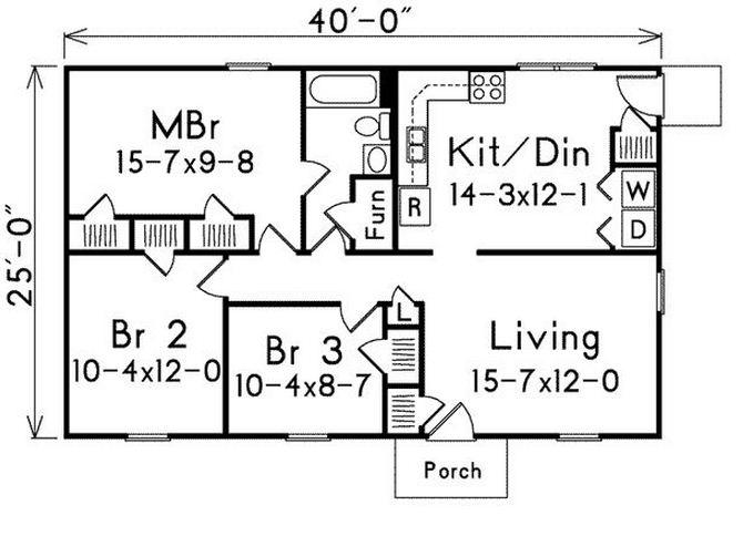 Planos de casas de dos dormitorios en una planta