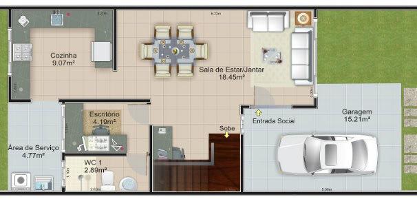 planos de casas 8×16