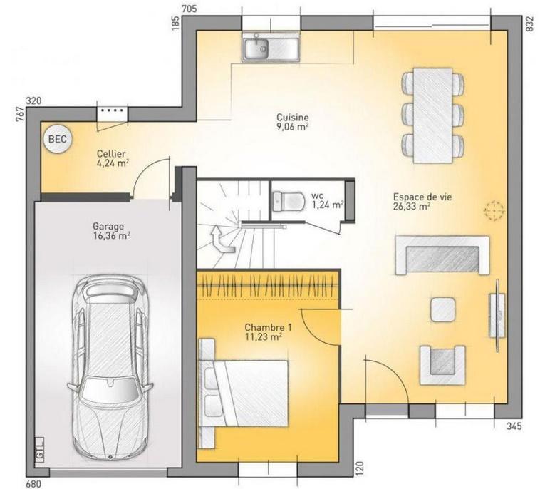 Plano de casa completo con 2 pisos for Mobilio completo casa