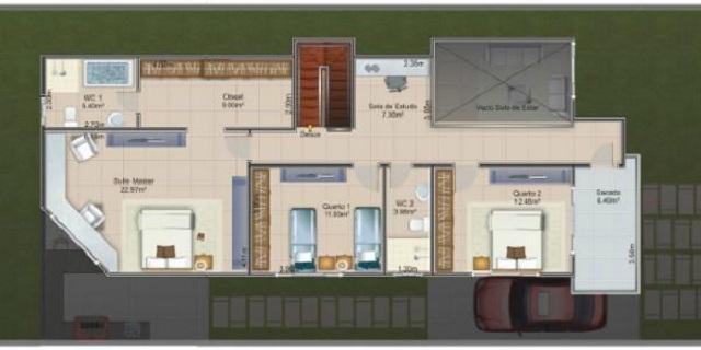 Plano de casa moderna con fachada for Fachada de casas modernas con porton
