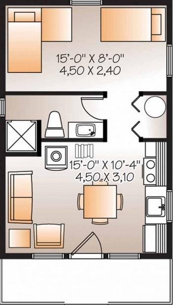 Casa moderna en una planta y un dormitorio