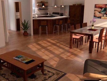 Cocina de casa moderna de una planta con dos dormitorios y oficina