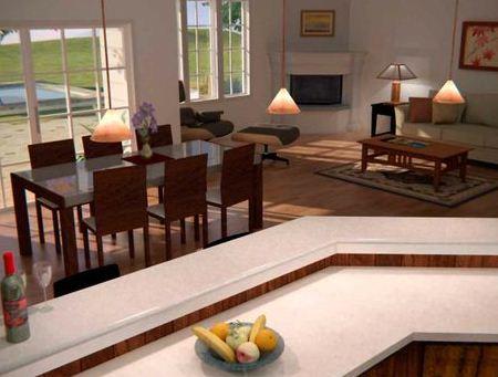 Comedor de casa moderna de una planta con dos dormitorios y oficina