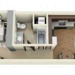 Distribución de un departamento de un dormitorio
