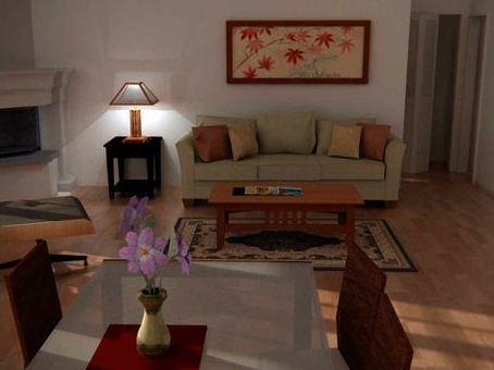 Living de casa moderna de una planta con dos dormitorios y oficina