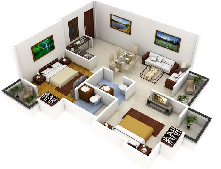 Plano de apartamento de 2 dormitorios y 2 ba os for Apartamentos pequenos planos