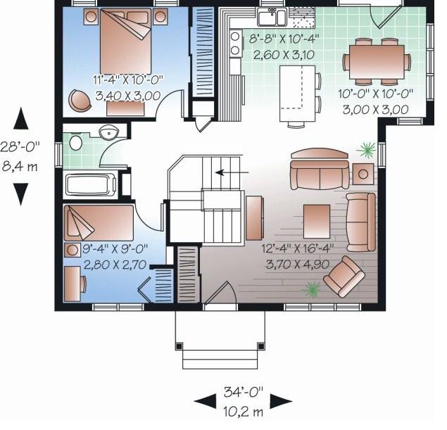 2 dormitorios planos de casas modernas for Diseno de casa sencilla