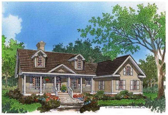 Plano de casa de campo grande con 3 dormitorios