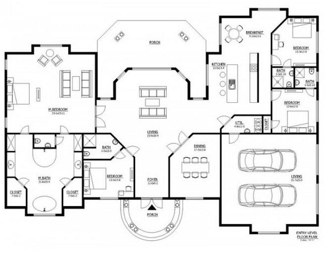 Plano de casa grande con 4 dormitorios y cochera doble