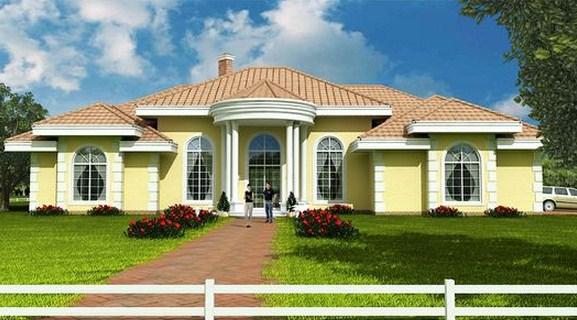 Plano de casa grande con 4 dormitorios y garaje doble