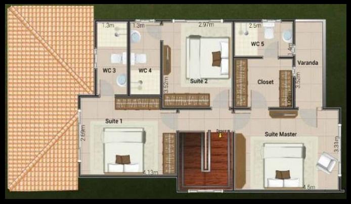 Plano de casa grande para 5 personas en 2 pisos for Casa moderna grande planos