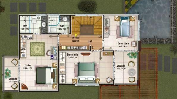 Plano de casa moderna de 2 pisos y 150 m2