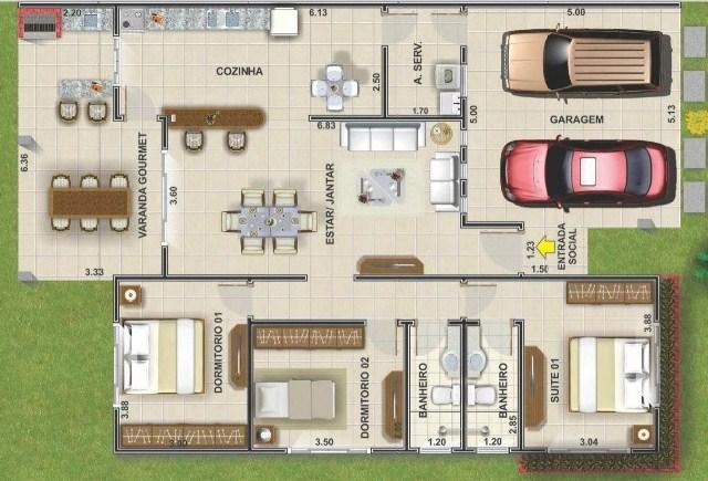 Plano de casa moderna de 3 dormitorios y cochera doble al frente
