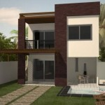 Plano de casa moderna de dos pisos y 150 m2