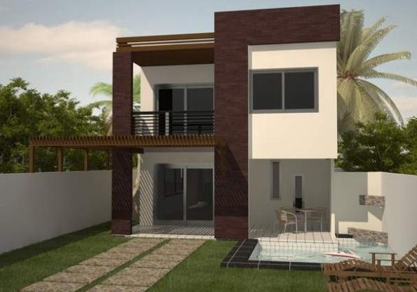 Plano de casa moderna de dos pisos y 150 m2 for Plano de casa quinta moderna