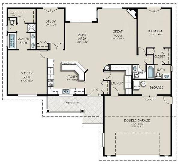 Plano de casa moderna de una planta con dos dormitorios, oficina y pileta