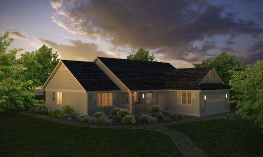 Plano de casa moderna de una planta con dos dormitorios y oficina