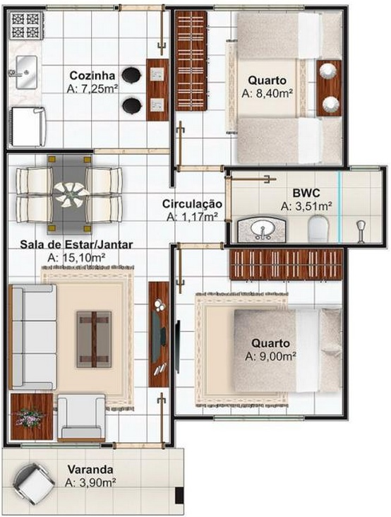 Plano de casa simple planos de casas modernas for Planos de casas de dos dormitorios