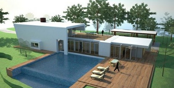 Planos de casas modernas para country - Casas modernas con piscina ...