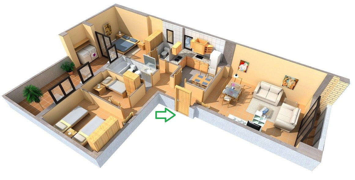 Plano de departamento moderno con forma de L