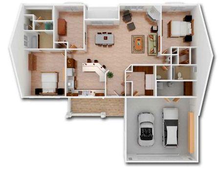 Plano en 3D de casa moderna de una planta con dos dormitorios y oficina
