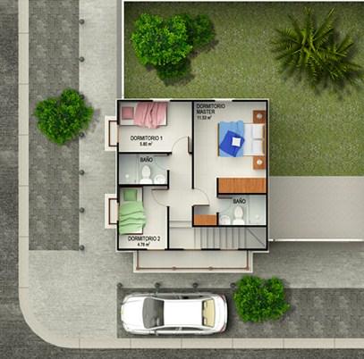 Planos de casas de 3 dormitorios en esquina