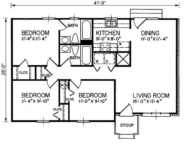 planos de casas pequenas de 3 habitaciones y 2 banos