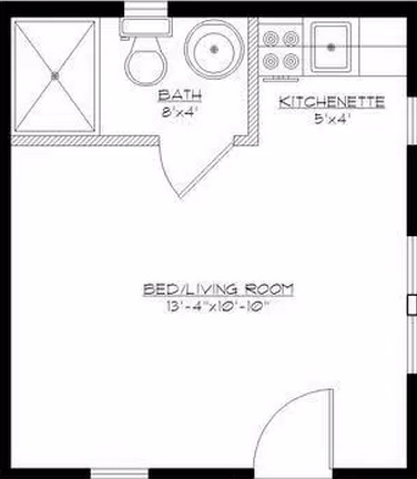 diseño de cabaña monoambiente