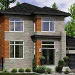 Plano de casa de 2 pisos en madera y piedra