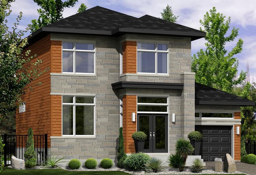 Casa de 2 pisos en madera y piedra
