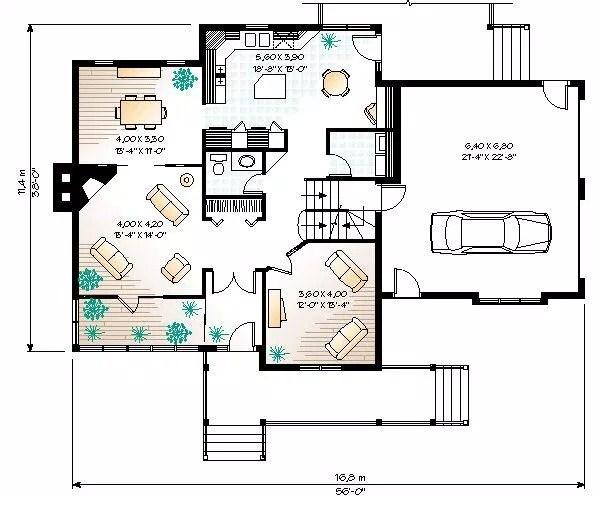 Plano de bungalow de dos pisos