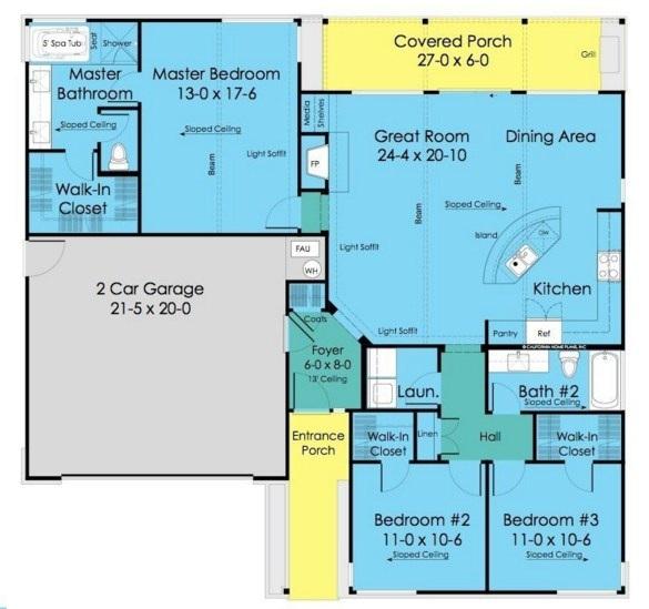 Plano de casa  con techo a dos aguas