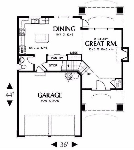 Plano de casa con tejas asfálticas