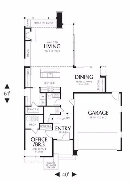 Plano de casa con terminaciones irregulares